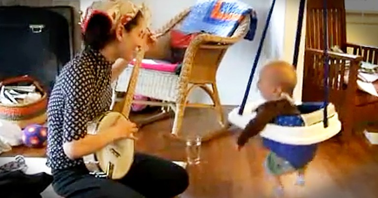 Baby Dancing To Momma Playing The Banjo Is Too Cute