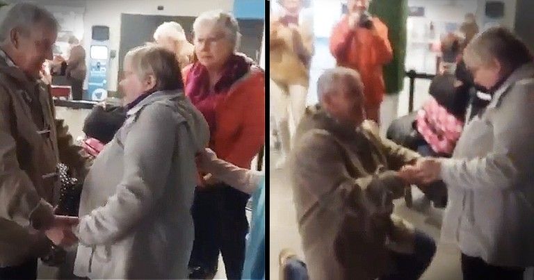 Sweet Older Man Proposes To Longtime Girlfriend In The Middle Of The Airport