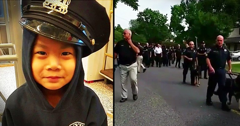 Police Officers Surprise Terminally Ill Boy Who Wants To Become A Cop