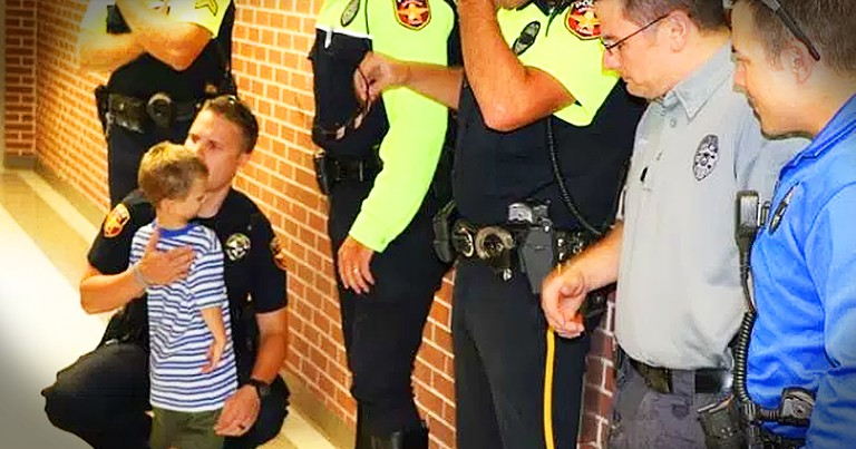 Police Officers Stand In For Fallen Officer On His 4-Year-Old Son's First Day Of School