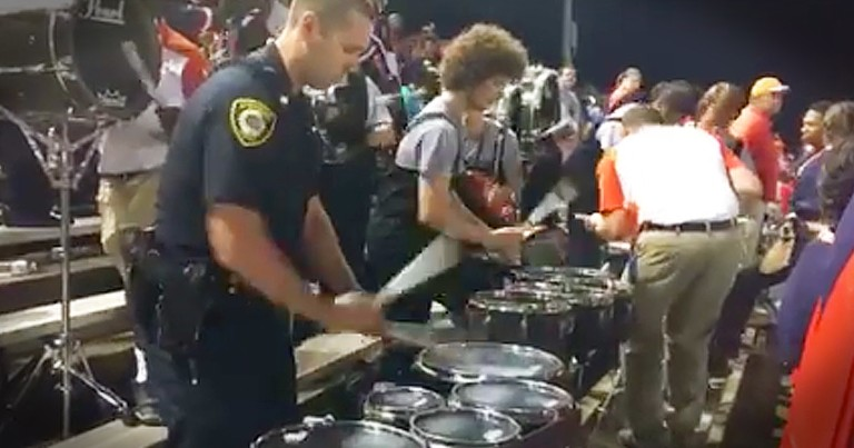 Police Officer Joins Drumline For Talented Performance