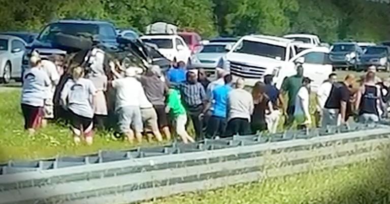 Good Samaritans Flip Overturned SUV To Save Car Crash Victims