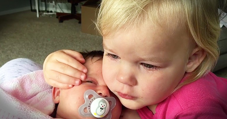 Sweet Toddler Immediately Stops Crying When She Hugs Baby Sister