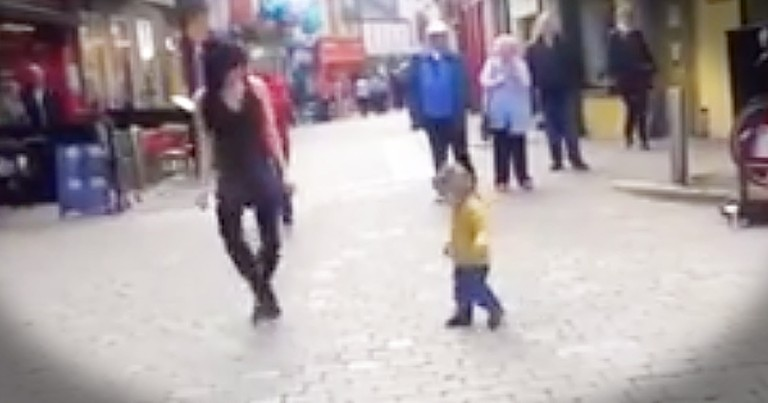 Adorable Little Girl Joins In With Irish Dancer On The Street