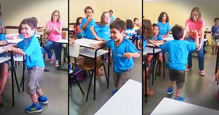 Kids Cheer As 6-Year-Old Takes First Steps Without A Wheelchair