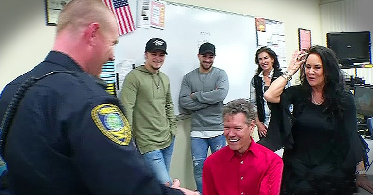Police Officer Tears Up Over Gift From Country Music Legend After Losing Everything In Fire