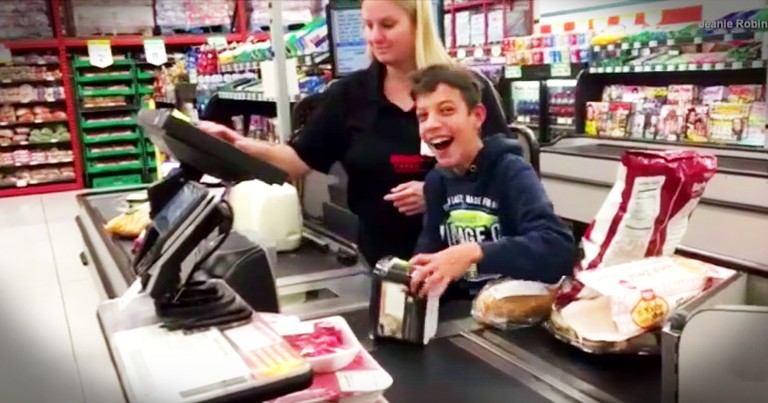 Cashier Makes The Day Of A Boy With Cerebral Palsy In The Most Adorable Way