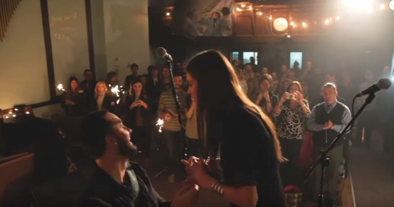 Adorable On Stage Proposal For A Couple Who've Known Each Other Since They Were Babies