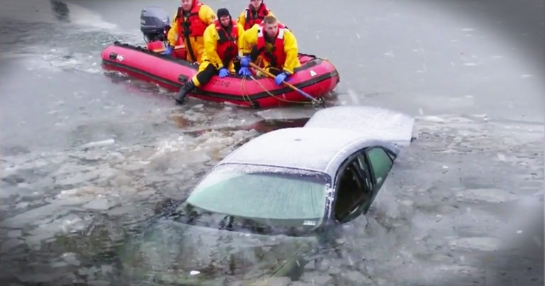 Good Samaritan Risks His Life To Rescue A Woman From A Sinking Car
