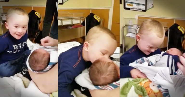 Little Boy's Face Is Priceless When Meeting His Baby Brother For The First Time