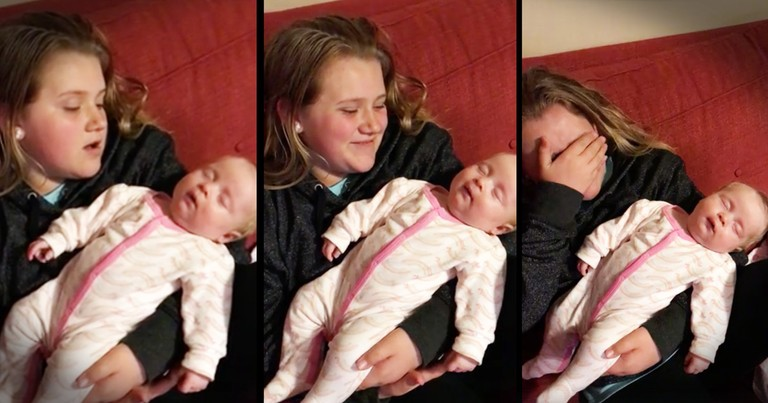 Sweet Little Girl Gets Emotional When Singing For Her Baby Sister