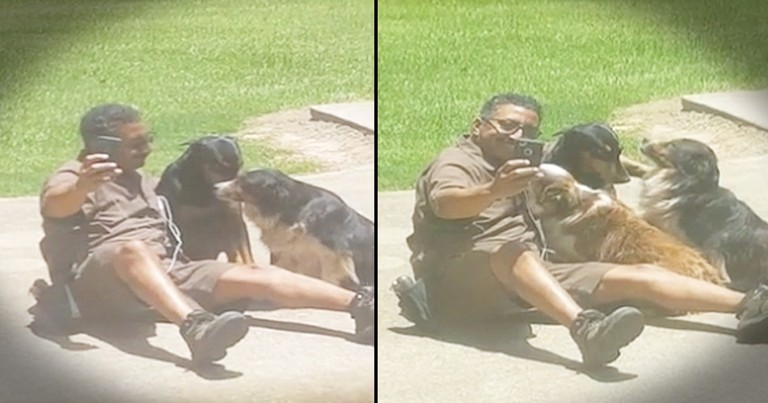 UPS Delivery Driver Stops To Take Selfies With Dogs