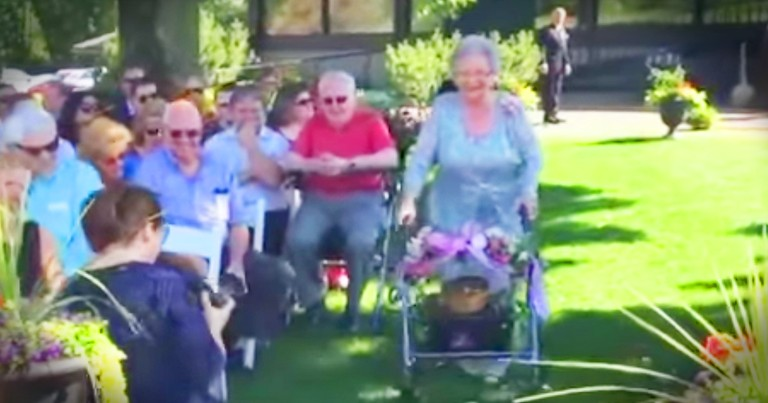 92-Year-Old Flower Girl Graces Down The Aisle