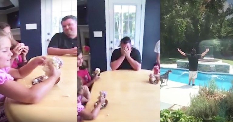 Dad's Hysterical Reaction To News Of Fifth Daughter