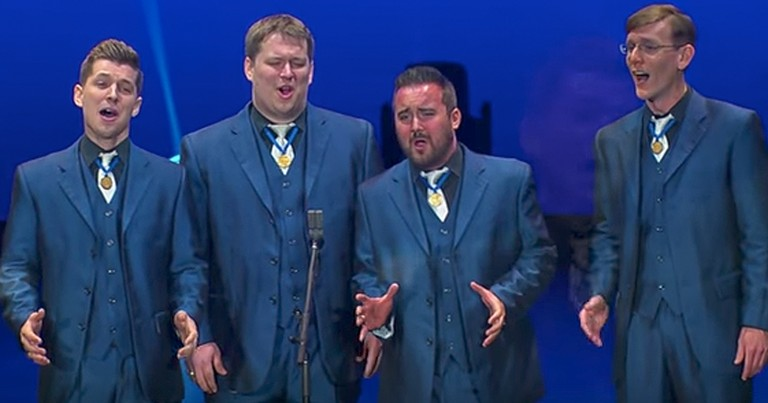 Barbershop Quartet Performs Amazing Version Of 'I'm Thru With Love'