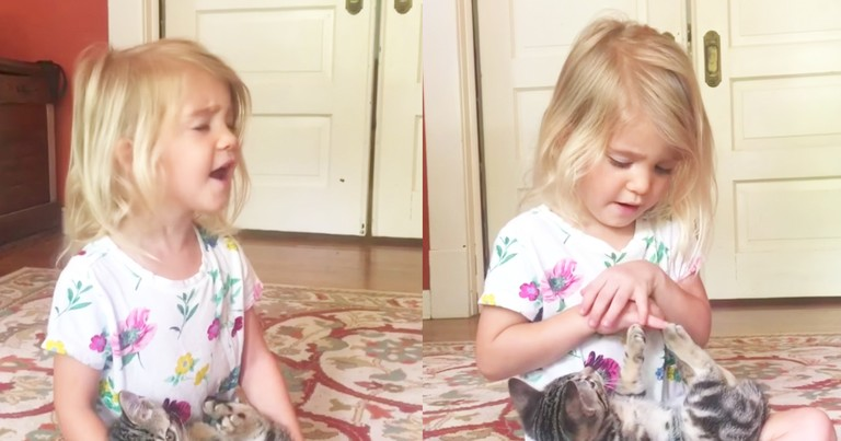 Adorable Little Girl Sings 'Somewhere Over The Rainbow' To Her Kitten