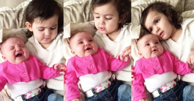 Little Girl Stops Sister's Crying By Singing 'You Are My Sunshine'
