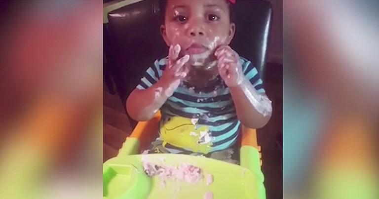 Hilarious Baby Makes Huge Mess Eating Yogurt