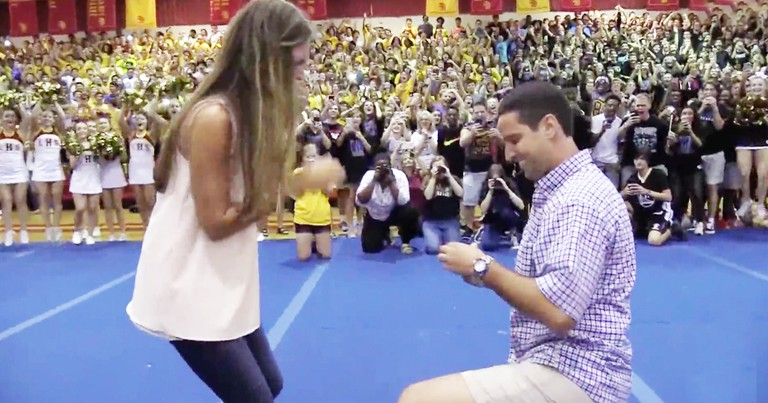 Teacher Turns High School Pep Rally Into Amazing Marriage Proposal