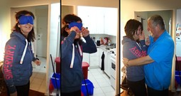 Woman Has Emotional Reunion When Her Dad Makes A Surprise Visit
