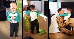Soldier Surprises His Son Disguised As A Present