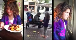 Little Girl Gives Her Lunch To The Homeless Man Outside And Melts Our Hearts