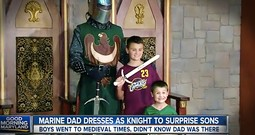 Marine Father Dresses As Knight To Surprise Kids With Homecoming Reunion