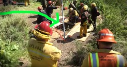 Watch As Firefighter Goes Down 30-Foot Well To Save Fallen Dog