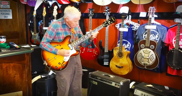 81-Year-Old Shows Off Incredible Talent In A Guitar Shop