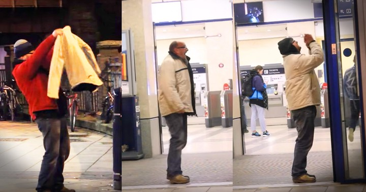 Homeless Man Getting A Coat For Christmas Jumps For Joy, Literally