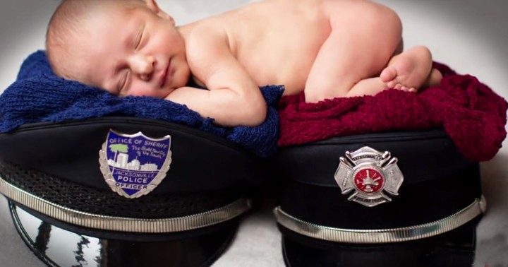 Baby's Newborn Photos Honor His Hero Parents In The Sweetest Way